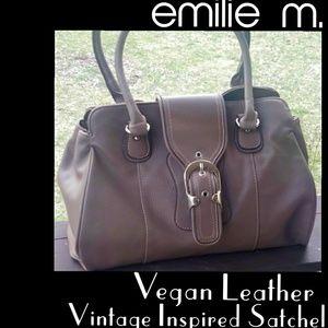⭐️HP⭐️NWOT▪EMILIE M▪Vegan Leather Retro Satchel
